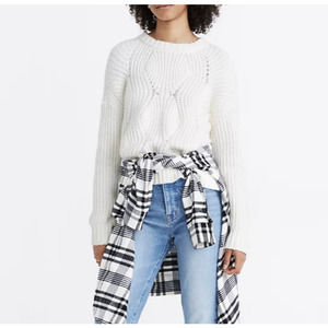 Madewell White Cable Knit Crew Neck Chunky Sweater